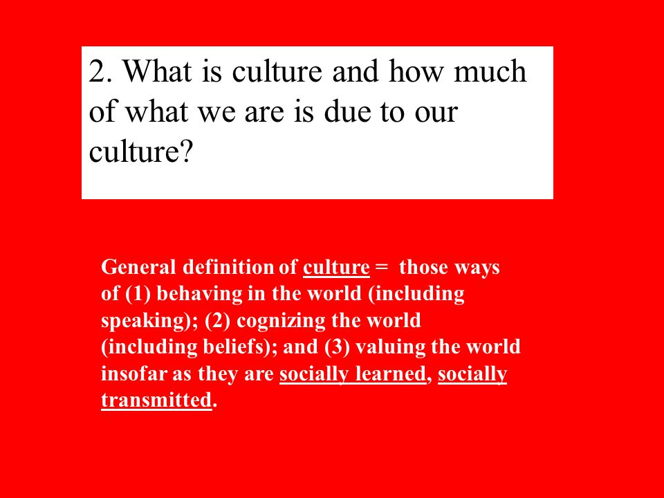 2. What is culture and how much of what we are is due to our culture.