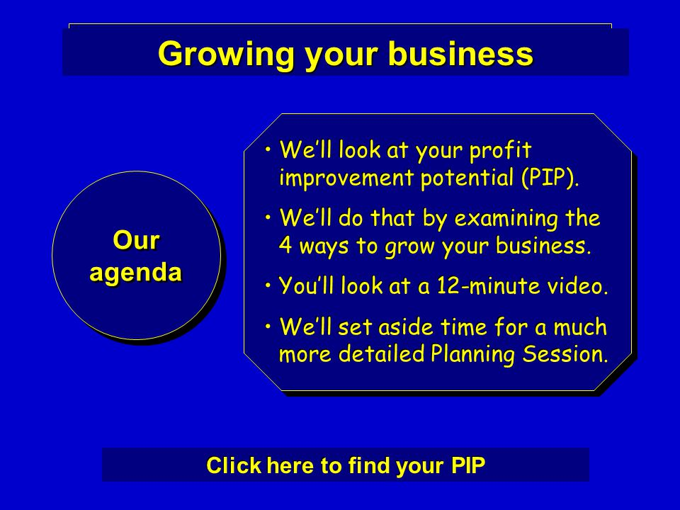Growing your business Our agenda Our agenda We'll look at your profit improvement potential (PIP).