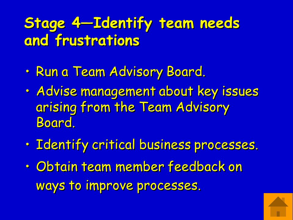 Stage 4—Identify team needs and frustrations Run a Team Advisory Board.
