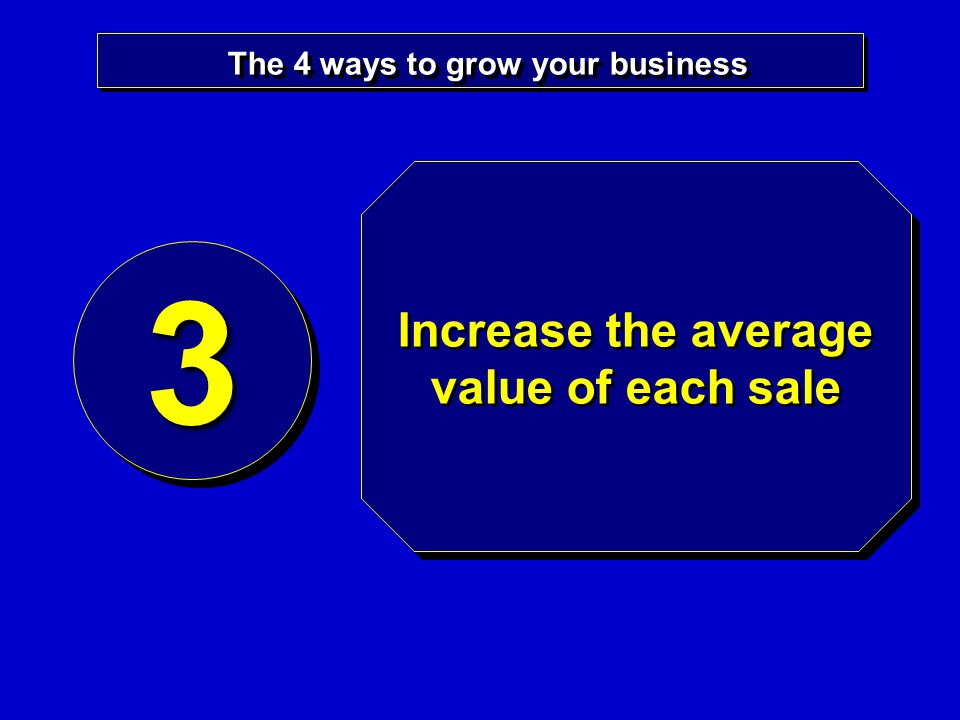 The 4 ways to grow your business 33 Increase the average value of each sale
