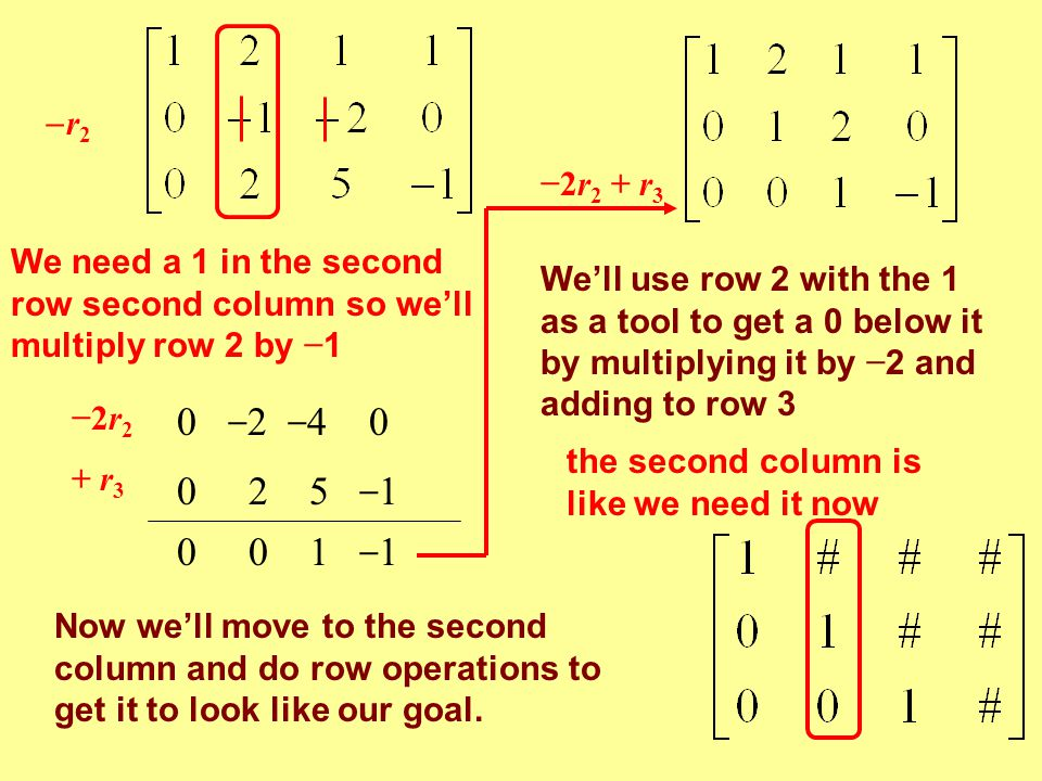 r2r2 −2r 2 0 − 2 − 4 0 + r 3 0 2 5 − 1 0 0 1 − 1 −2r 2 + r 3 We'll use row 2 with the 1 as a tool to get a 0 below it by multiplying it by − 2 and a