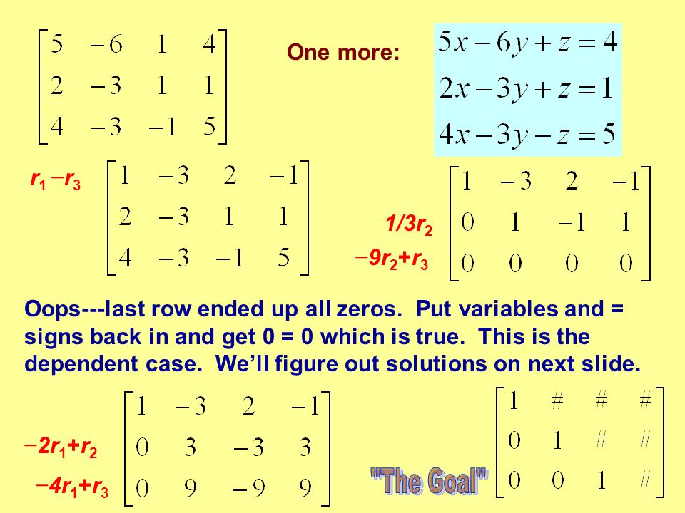 One more: r 1 − r 3 − 2r 1 +r 2 − 4r 1 +r 3 1/3r 2 − 9r 2 +r 3 Oops---last row ended up all zeros. Put variables and = signs back in and get 0 = 0 whi