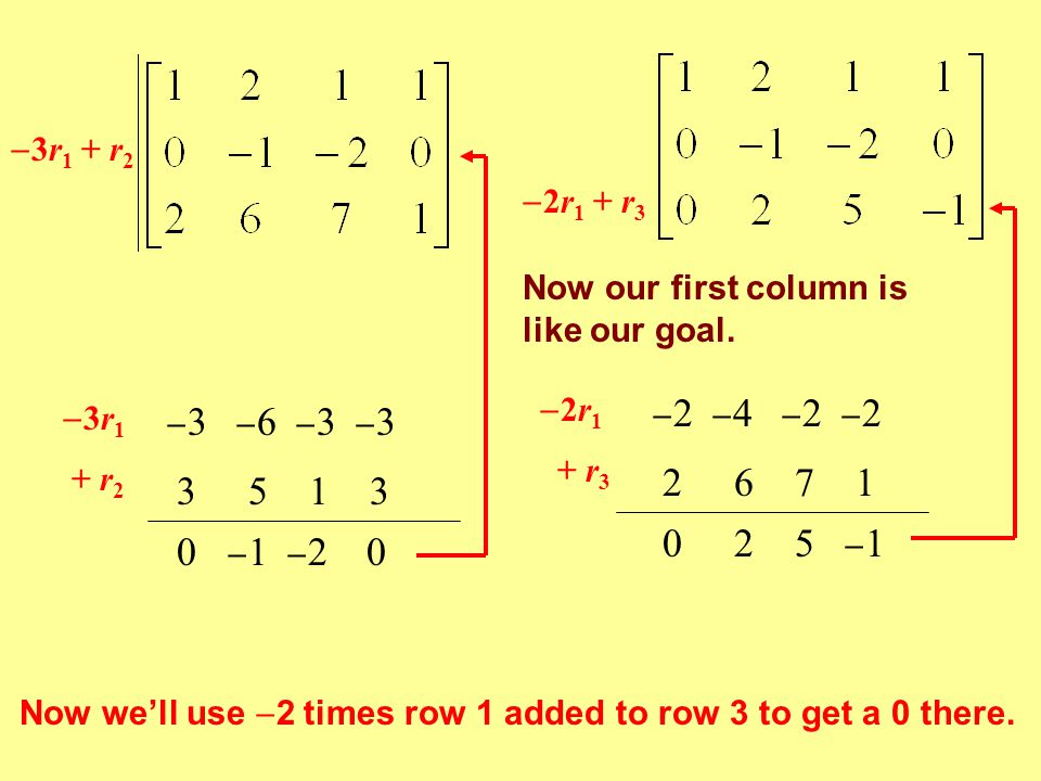  3r 1 + r 2 3r13r1  3  6  3  3 + r 2 3 5 1 3 0  1  2 0 Now we'll use  2 times row 1 added to row 3 to get a 0 there.  2r 1 + r 3 2r12r1 