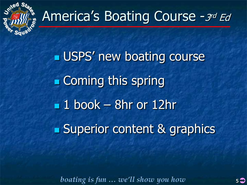 boating is fun … we'll show you how 5 America's Boating Course - 3 rd Ed USPS' new boating course USPS' new boating course Coming this spring Coming this spring 1 book – 8hr or 12hr 1 book – 8hr or 12hr Superior content & graphics Superior content & graphics USPS' new boating course USPS' new boating course Coming this spring Coming this spring 1 book – 8hr or 12hr 1 book – 8hr or 12hr Superior content & graphics Superior content & graphics 