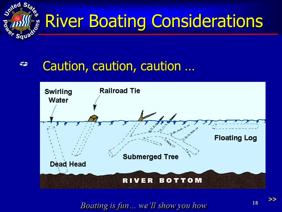 Boating is fun… we'll show you how River Boating Considerations >> Caution, caution, caution … 18