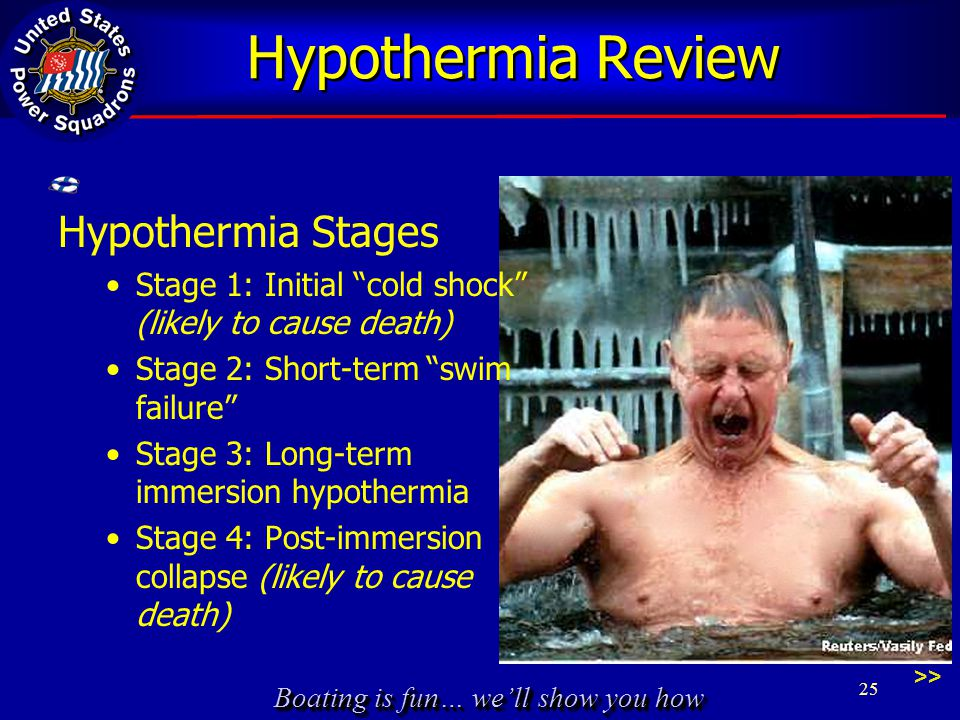 Boating is fun… we'll show you how Hypothermia Review Hypothermia Stages Stage 1: Initial cold shock (likely to cause death) Stage 2: Short-term swim failure Stage 3: Long-term immersion hypothermia Stage 4: Post-immersion collapse (likely to cause death) >> 25