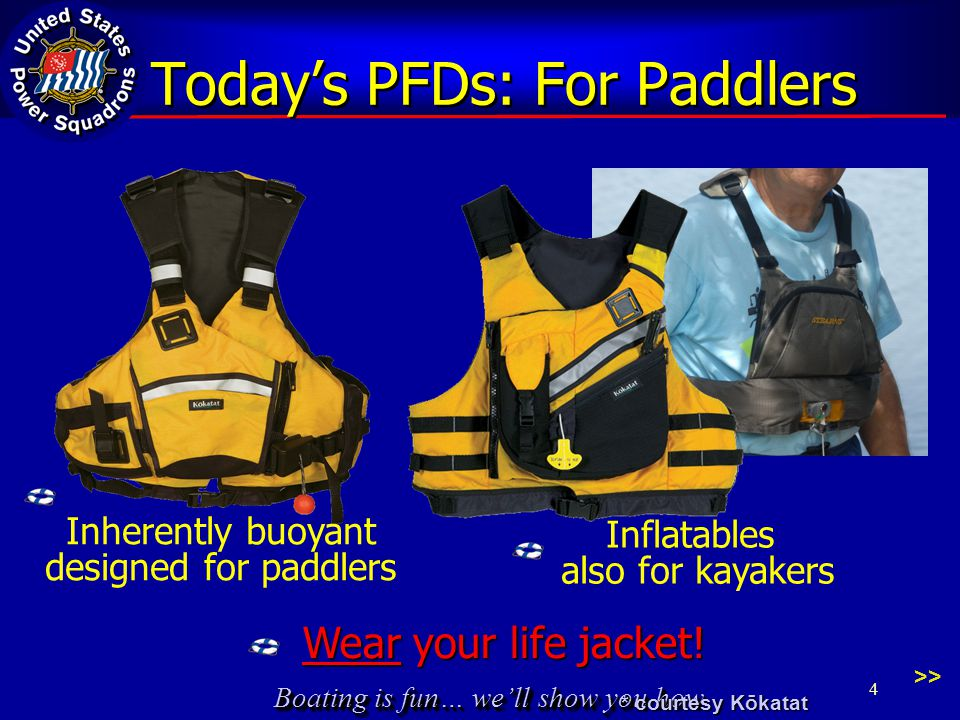Boating is fun… we'll show you how Today's PFDs: For Paddlers >> Inflatables also for kayakers Inherently buoyant designed for paddlers Wear your life jacket.