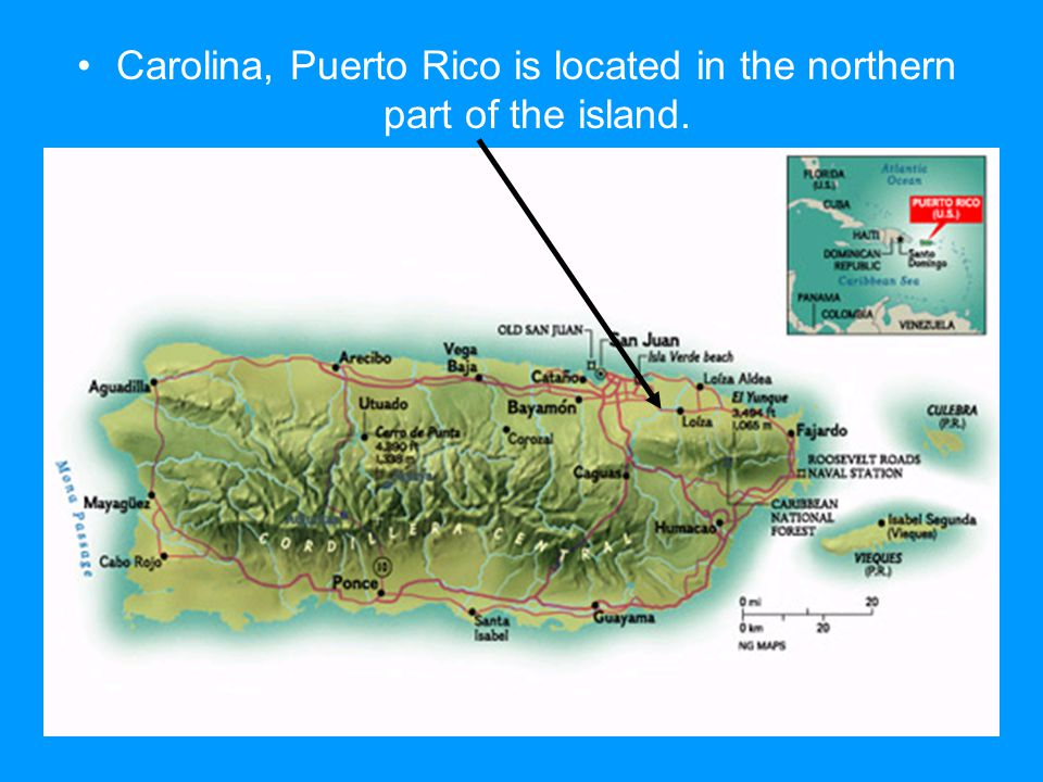 Carolina, Puerto Rico is located in the northern part of the island.