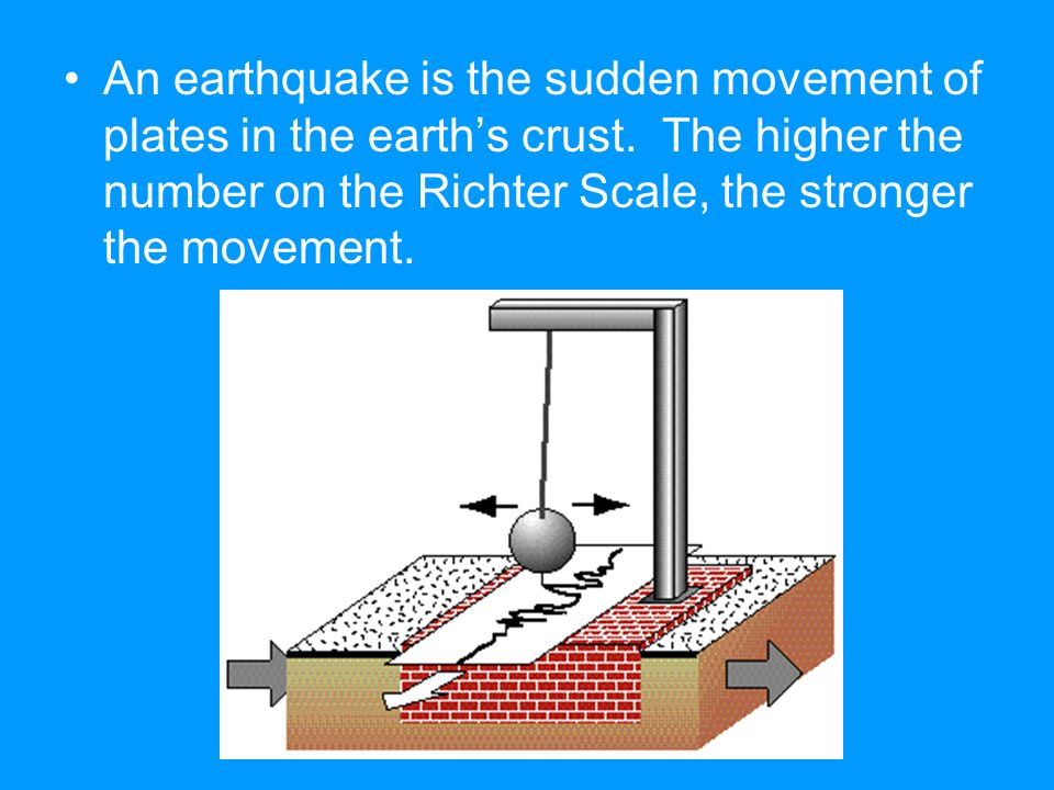 An earthquake is the sudden movement of plates in the earth's crust. The higher the number on the Richter Scale, the stronger the movement.