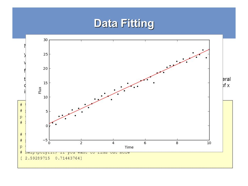 Data Fitting # We'll use polyfit to find the values of the coefficients. The third # parameter is the