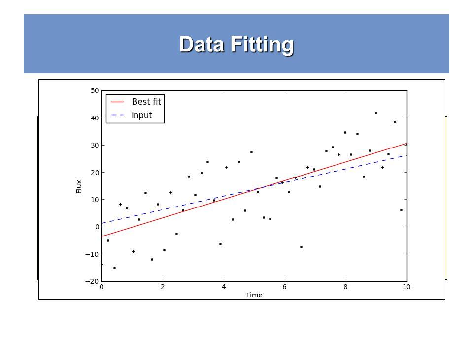 Data Fitting noisy_flux = y+noise*10 p = polyfit(x,noisy_flux,1) print p [ 3.4289715 -3.65562359] # plot it pl.clf() # clear the figure pl.plot(x,nois