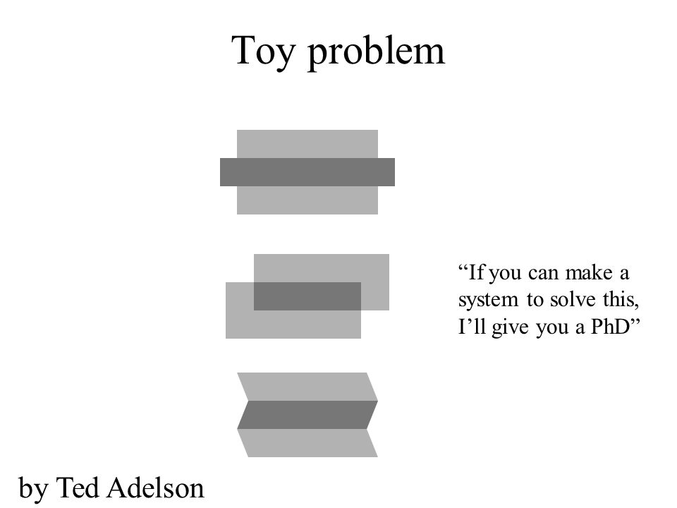 Toy problem If you can make a system to solve this, I'll give you a PhD by Ted Adelson