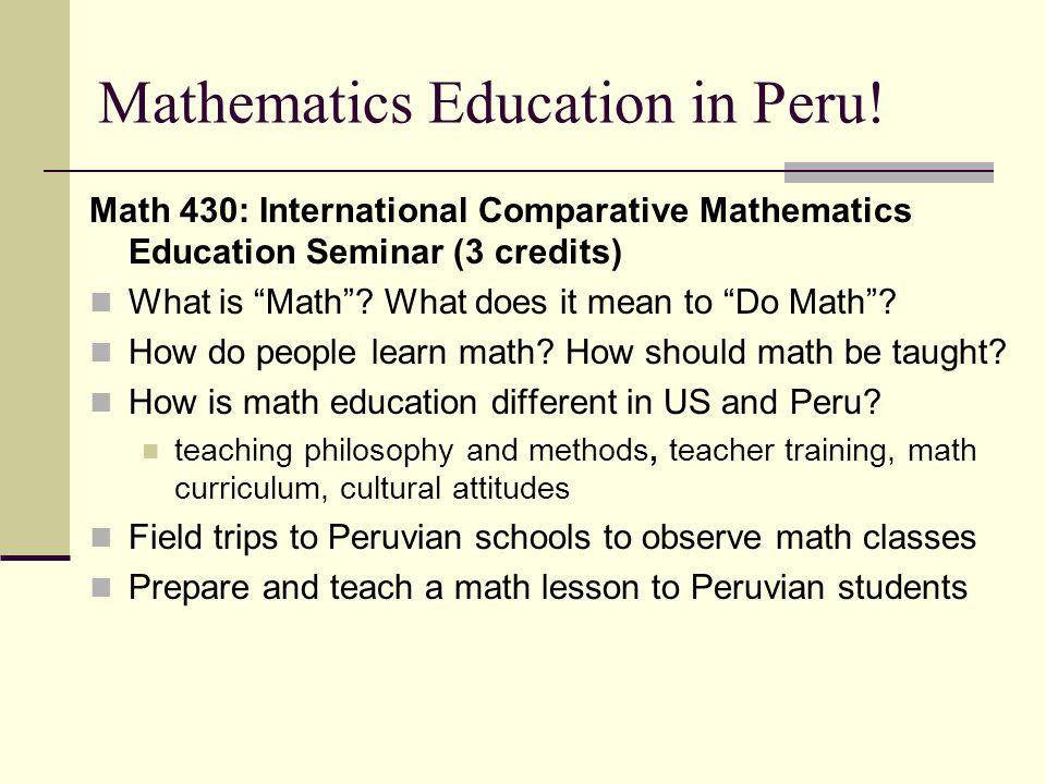 Mathematics Education in Peru.