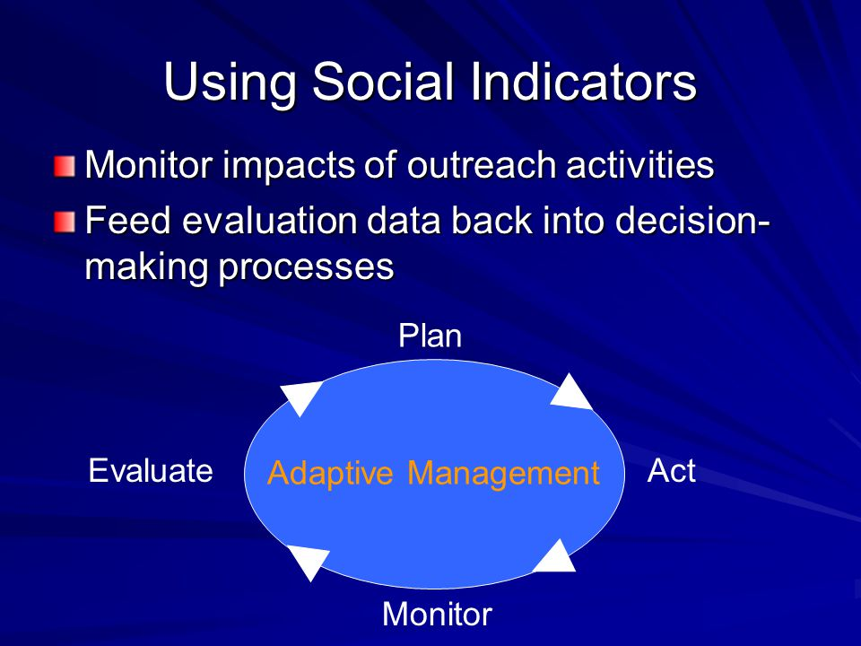Using Social Indicators Monitor impacts of outreach activities Feed evaluation data back into decision- making processes Adaptive Management Plan Act
