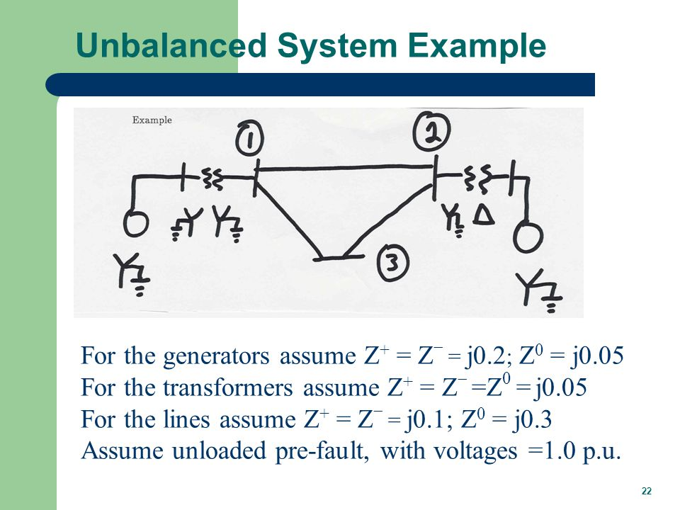 22 Unbalanced System Example For the generators assume Z + = Z  = j0.2 ; Z 0 = j0.05 For the transformers assume Z + = Z  =Z 0 = j0.05 For the lines assume Z + = Z  = j0.1; Z 0 = j0.3 Assume unloaded pre-fault, with voltages =1.0 p.u.