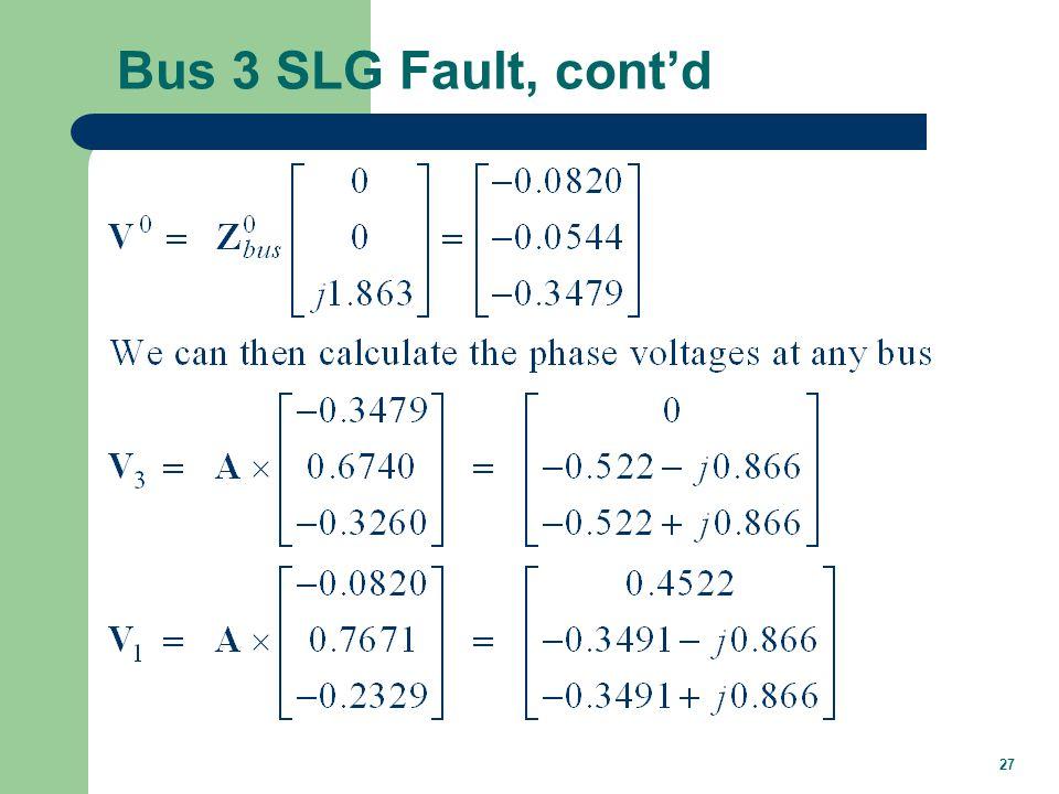 27 Bus 3 SLG Fault, cont'd