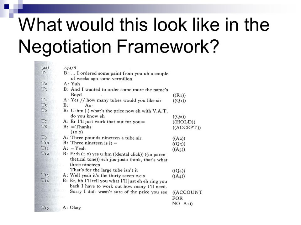 What would this look like in the Negotiation Framework