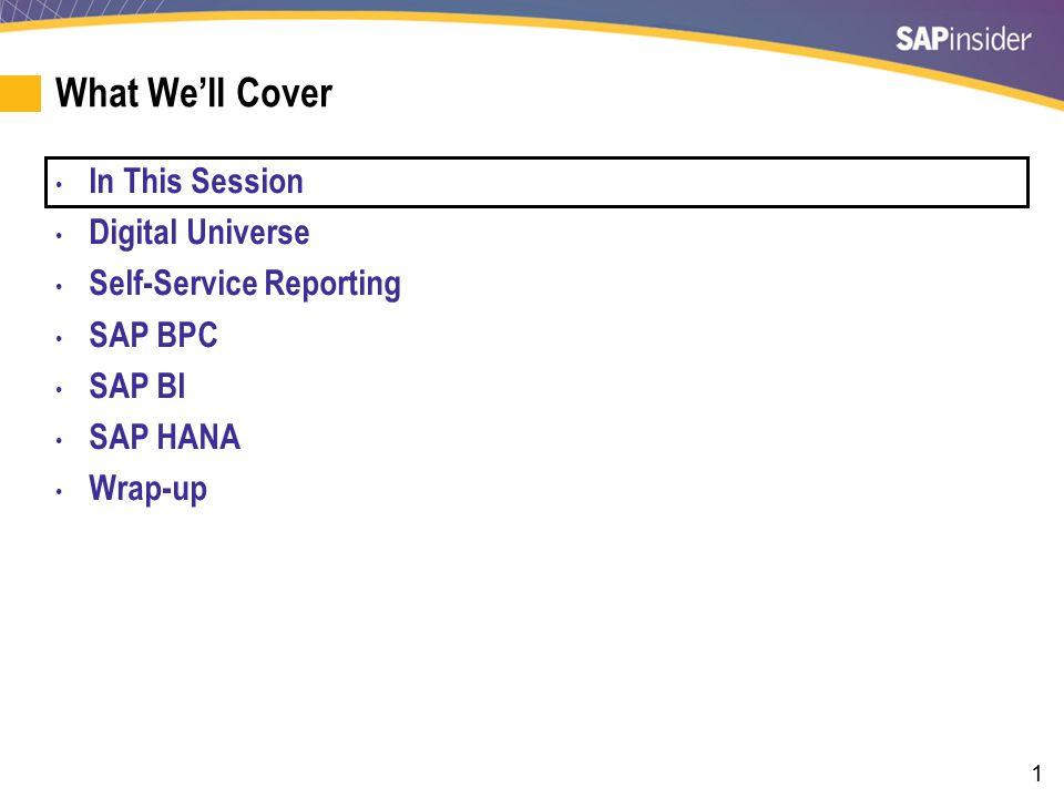 42 What We'll Cover In this Session Digital Universe Self-Service Reporting SAP BPC SAP BI SAP HANA Wrap-up