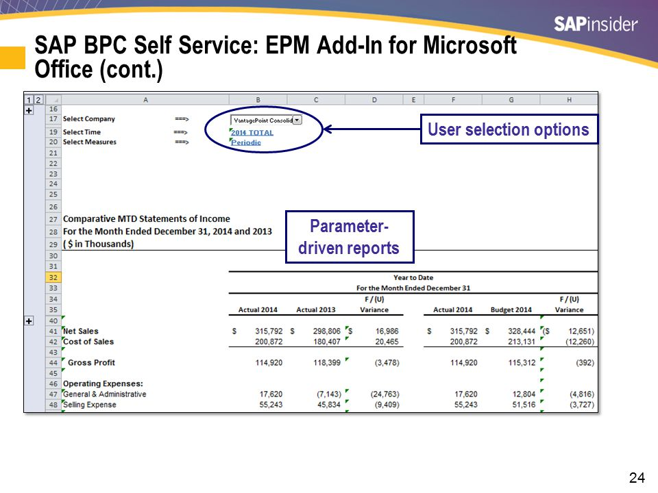 24 SAP BPC Self Service: EPM Add-In for Microsoft Office (cont.) User selection options Parameter- driven reports