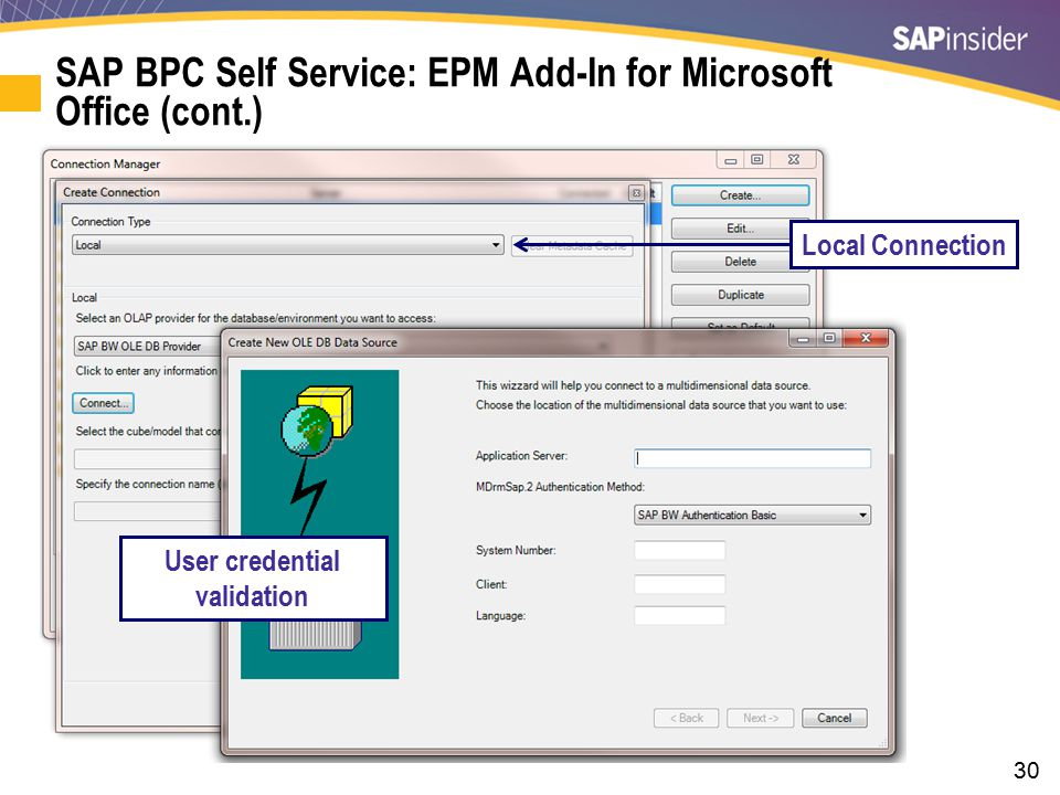 30 SAP BPC Self Service: EPM Add-In for Microsoft Office (cont.) User credential validation Local Connection