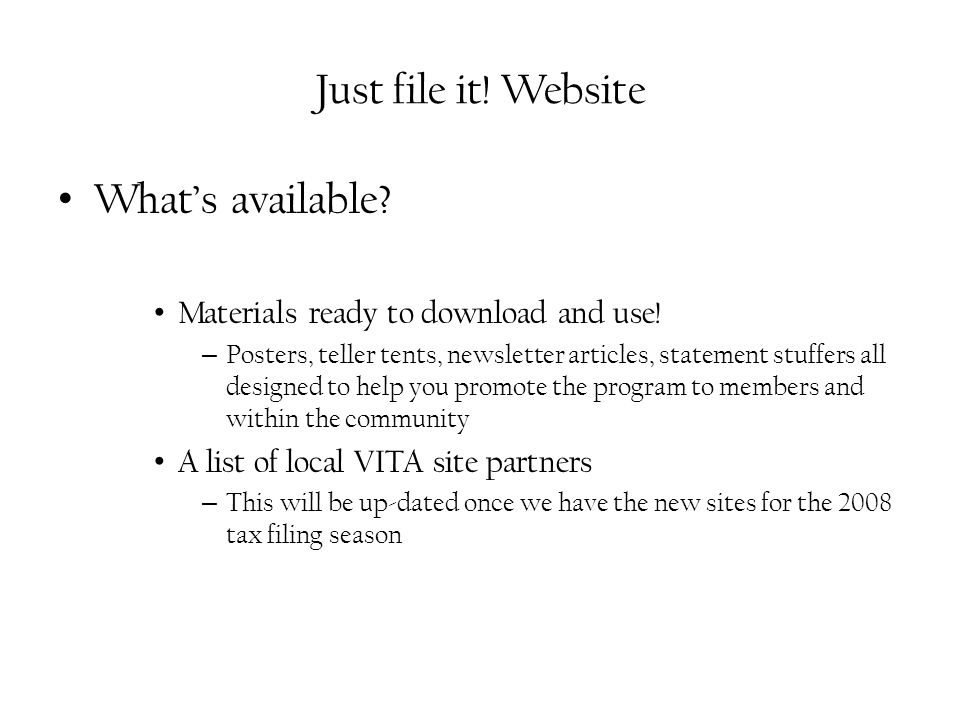 Just file it. Website What's available. Materials ready to download and use.