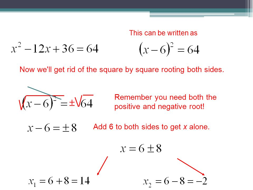 This can be written as Now we ll get rid of the square by square rooting both sides.