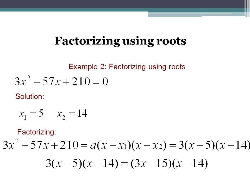 Factorizing using roots Example 2: Factorizing using roots Solution: Factorizing: