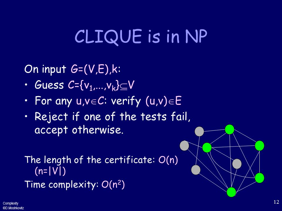 Complexity ©D.Moshkovitz 12 CLIQUE is in NP On input G=(V,E),k: Guess C={v 1,...,v k }  V For any u,v  C: verify (u,v)  E Reject if one of the tests fail, accept otherwise.