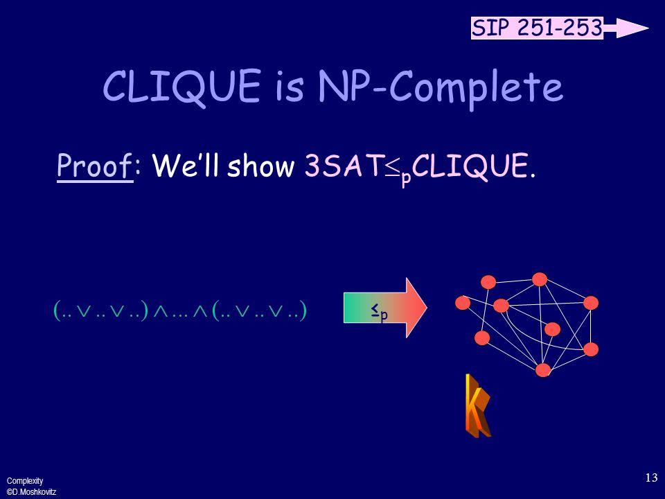 Complexity ©D.Moshkovitz 13 CLIQUE is NP-Complete Proof: We'll show 3SAT  p CLIQUE.