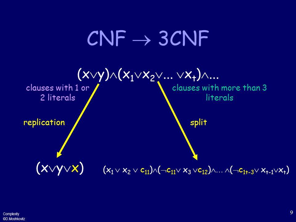 Complexity ©D.Moshkovitz 9 CNF  3CNF (x  y)  (x 1  x 2 ...