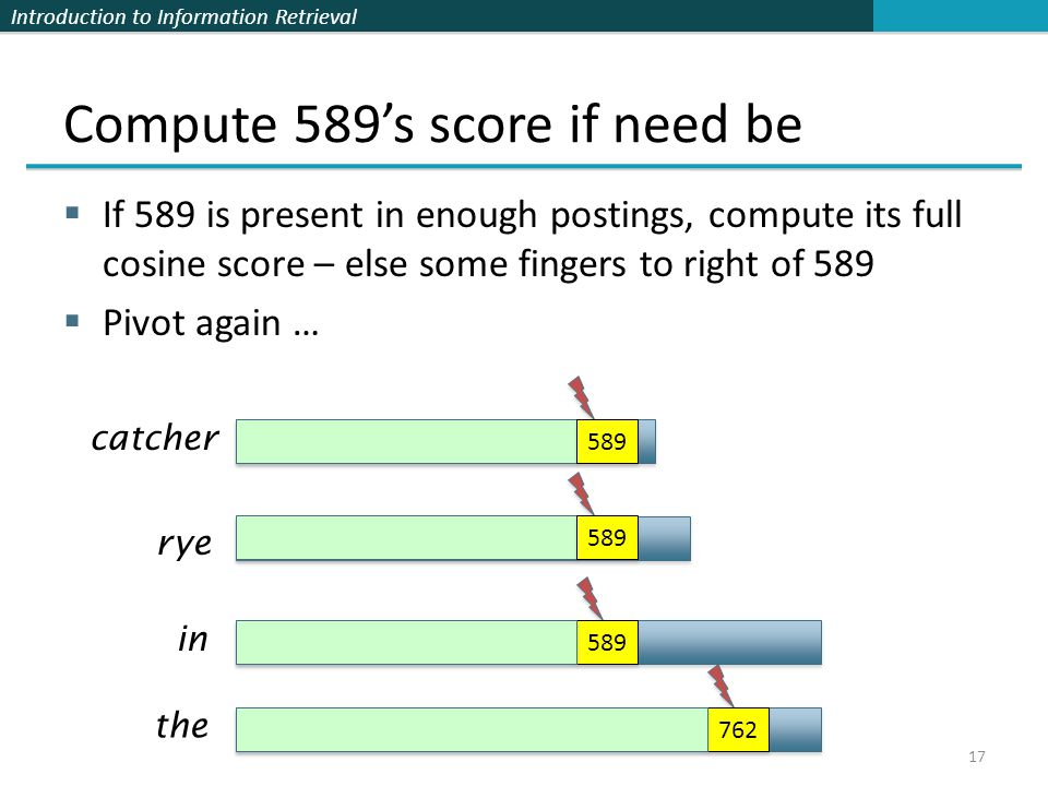 Introduction to Information Retrieval Compute 589's score if need be  If 589 is present in enough postings, compute its full cosine score – else some fingers to right of 589  Pivot again … 17 catcher rye in the 589 762 589