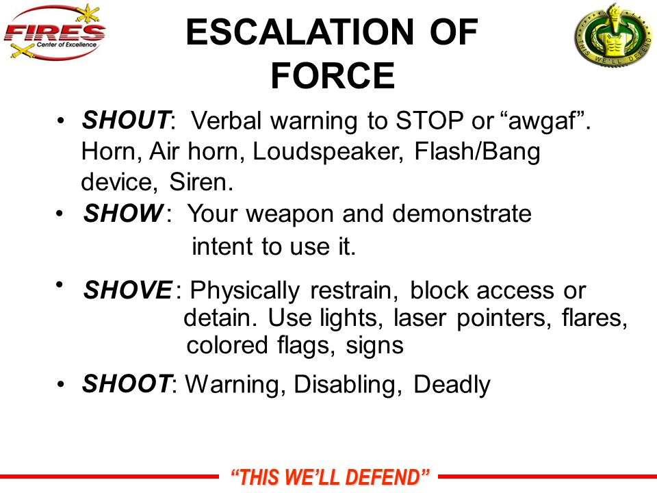 THIS WE'LL DEFEND ESCALATION OF FORCE SHOUT : Verbal warning to STOP or awgaf .