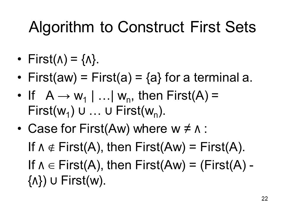 22 Algorithm to Construct First Sets First( ٨ ) = { ٨ }.