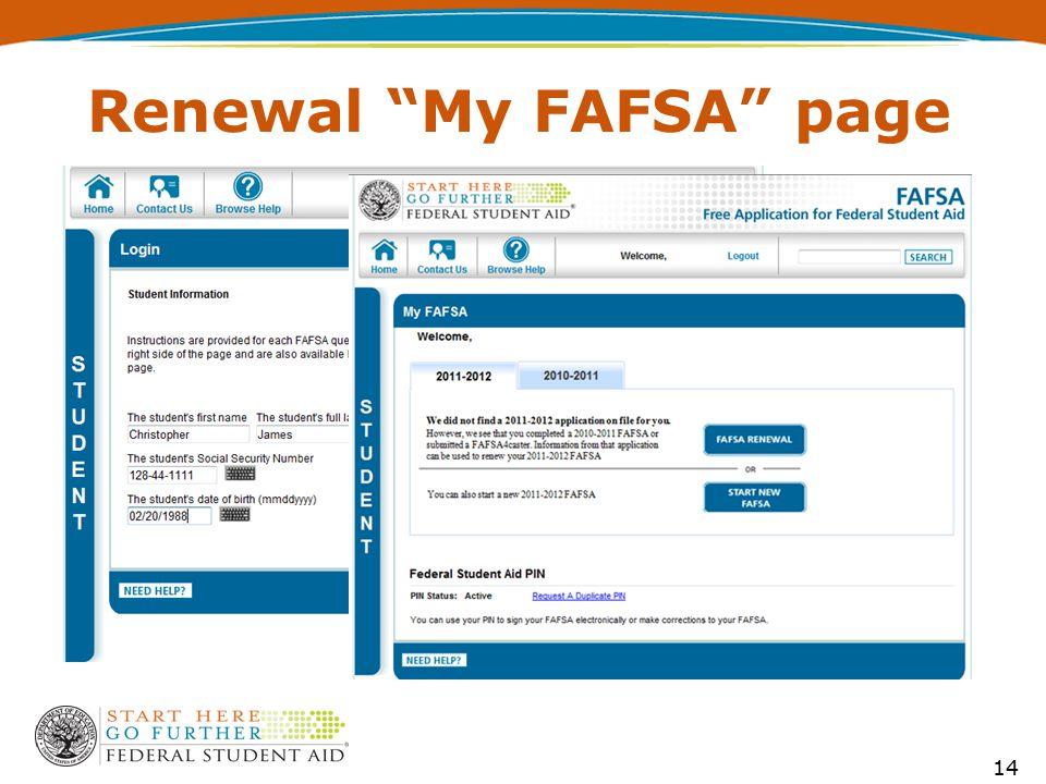 """Renewal """"My FAFSA"""" page 14"""