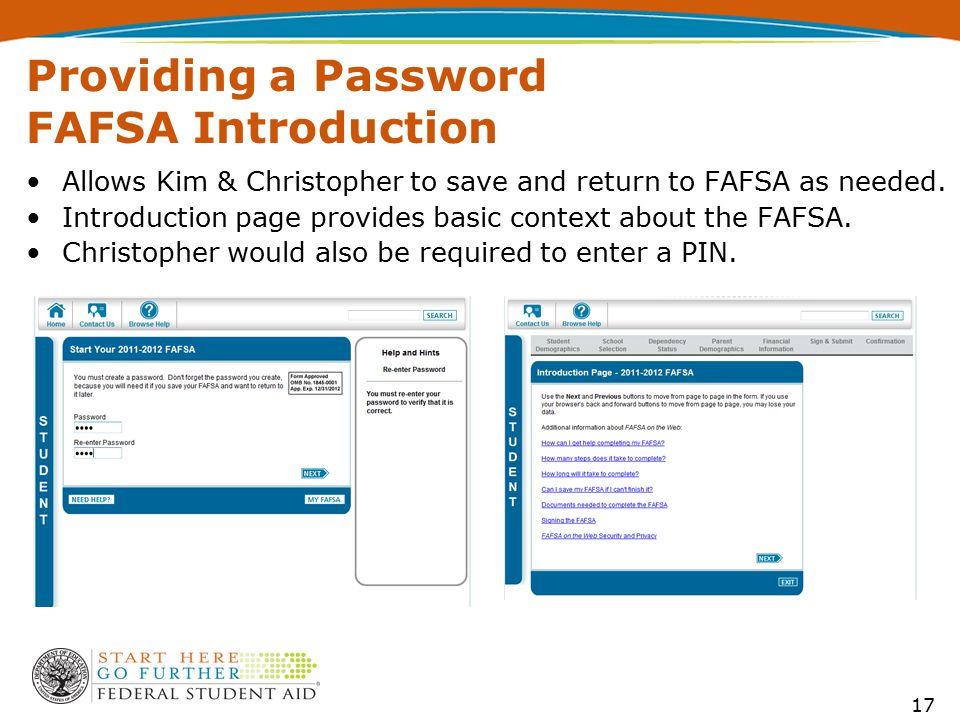 Providing a Password FAFSA Introduction Allows Kim & Christopher to save and return to FAFSA as needed. Introduction page provides basic context about