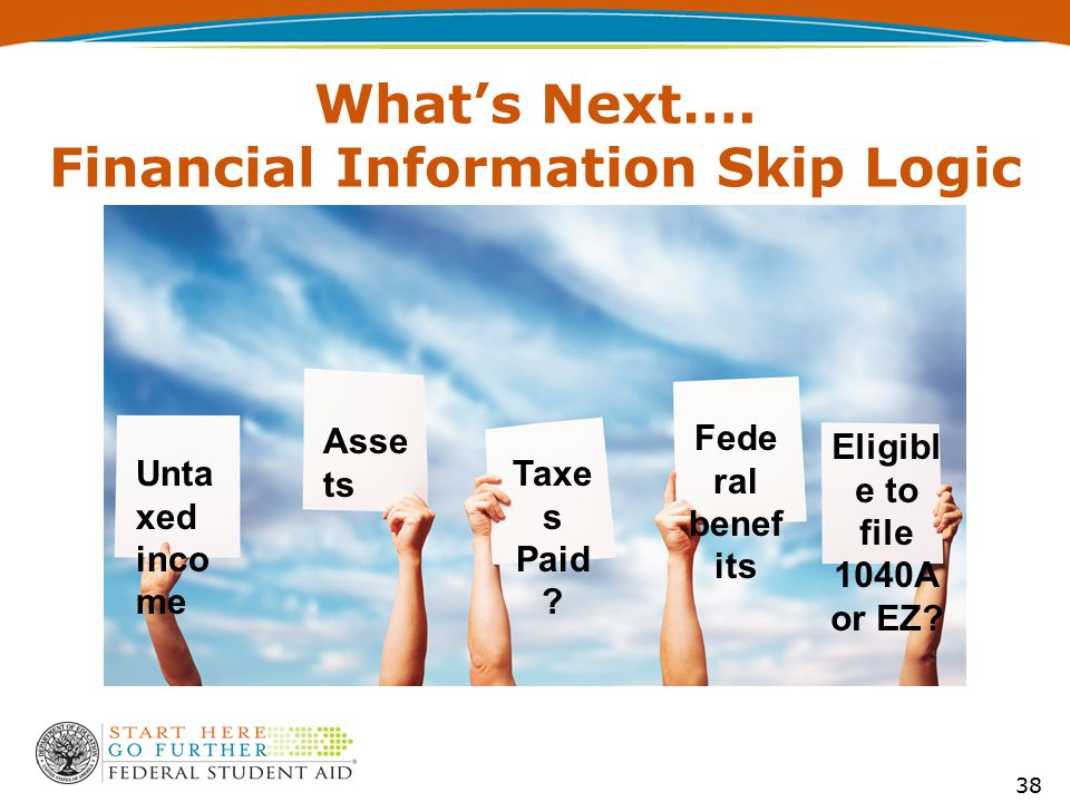 What's Next…. Financial Information Skip Logic Unta xed inco me Asse ts Taxe s Paid .