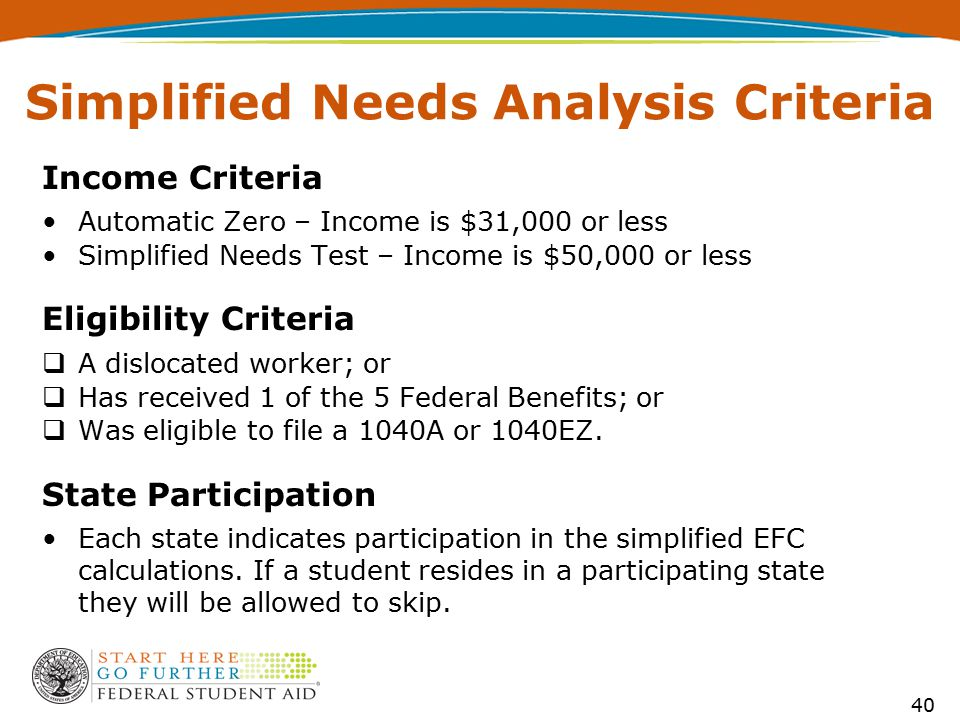 Simplified Needs Analysis Criteria Income Criteria Automatic Zero – Income is $31,000 or less Simplified Needs Test – Income is $50,000 or less Eligibility Criteria  A dislocated worker; or  Has received 1 of the 5 Federal Benefits; or  Was eligible to file a 1040A or 1040EZ.