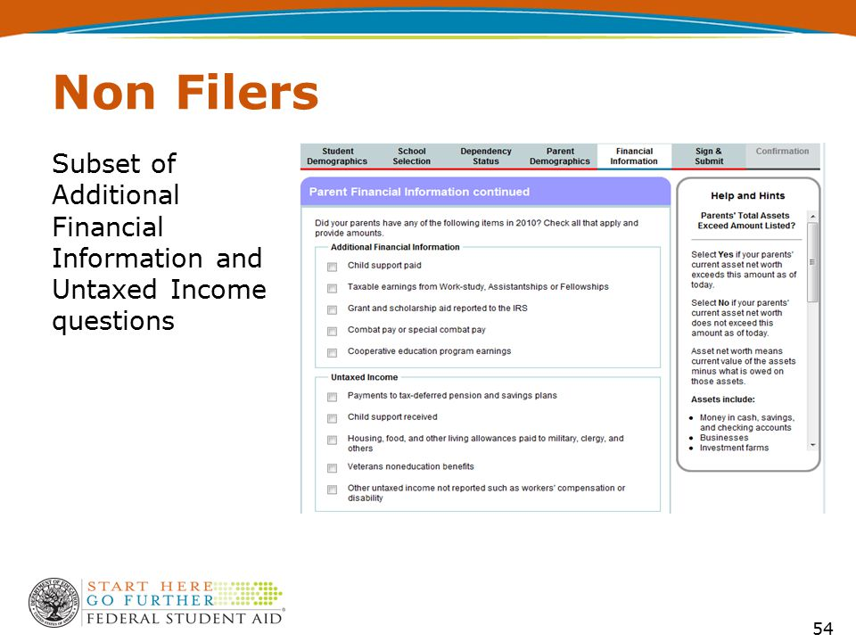 Subset of Additional Financial Information and Untaxed Income questions Non Filers 54