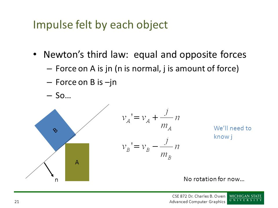CSE 872 Dr. Charles B. Owen Advanced Computer Graphics21 Impulse felt by each object Newton's third law: equal and opposite forces – Force on A is jn