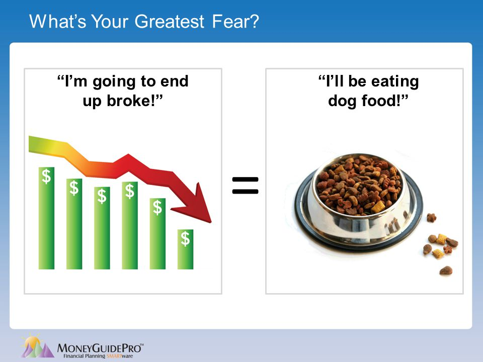 "What's Your Greatest Fear? ""I'll be eating dog food!"" = ""I'm going to end up broke!"""
