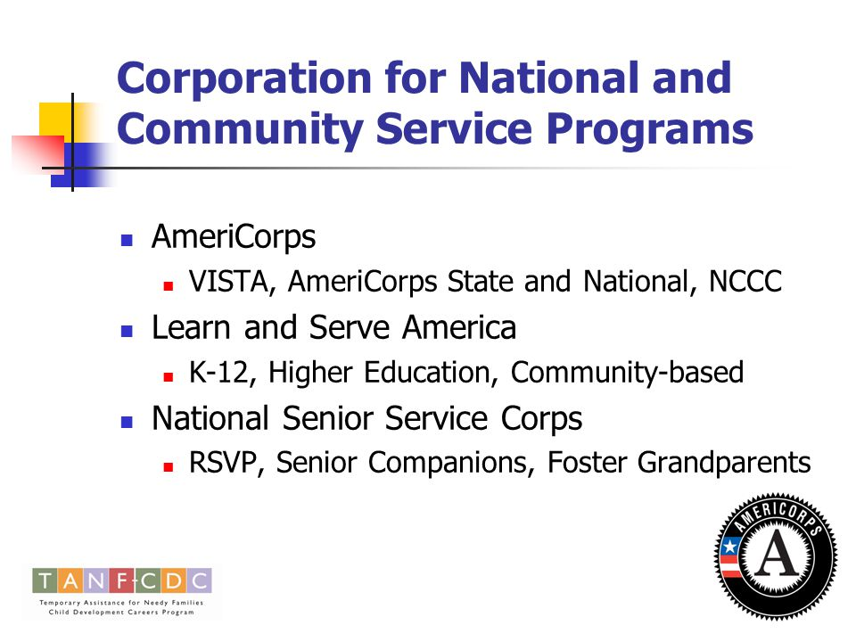 Corporation for National and Community Service Programs AmeriCorps VISTA, AmeriCorps State and National, NCCC Learn and Serve America K-12, Higher Education, Community-based National Senior Service Corps RSVP, Senior Companions, Foster Grandparents