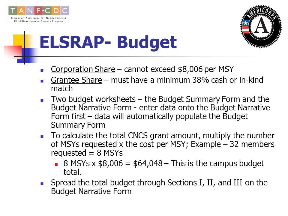 ELSRAP – Program Narrative (3) Organizational Capacity Budget/Cost Effectiveness