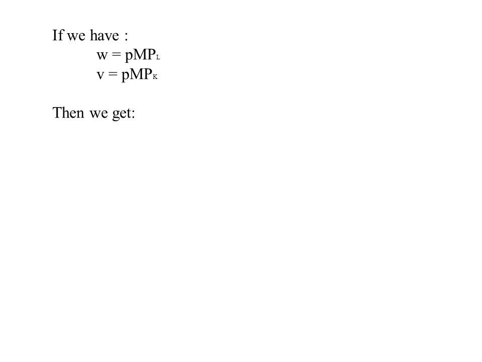 If we have : w = pMP L v = pMP K Then we get: