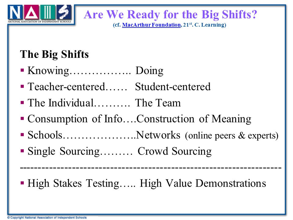 Are We Ready for the Big Shifts? (cf. MacArthur Foundation, 21 st. C. Learning)MacArthur Foundation The Big Shifts  Knowing…………….. Doing  Teacher-ce