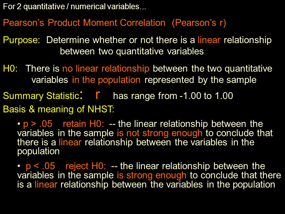 So… what are the bivariate null hypothesis significance tests (NHSTs) we'll be using .