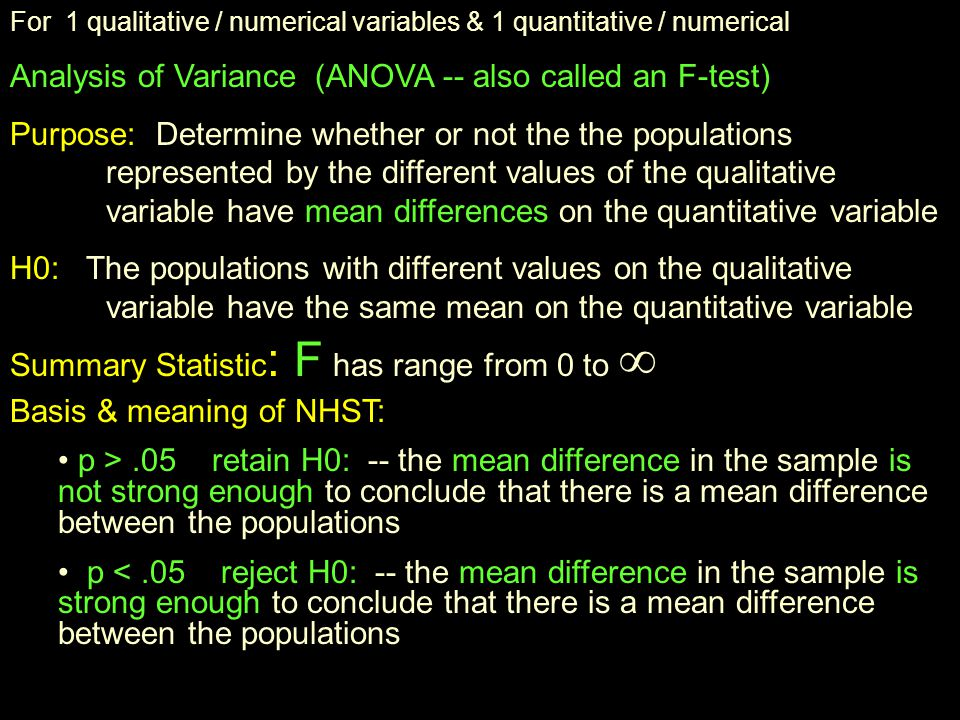 For 2 qualitative / numerical variables...