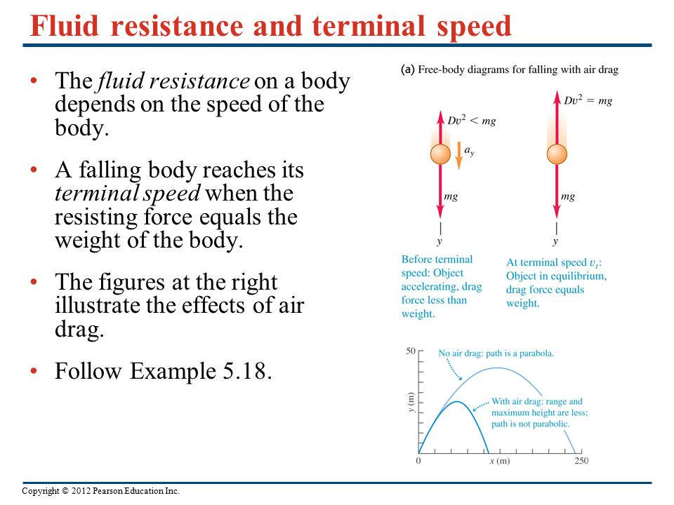 Copyright © 2012 Pearson Education Inc. Fluid resistance and terminal speed The fluid resistance on a body depends on the speed of the body. A falling