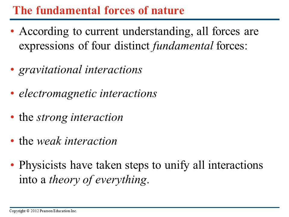 Copyright © 2012 Pearson Education Inc. The fundamental forces of nature According to current understanding, all forces are expressions of four distin