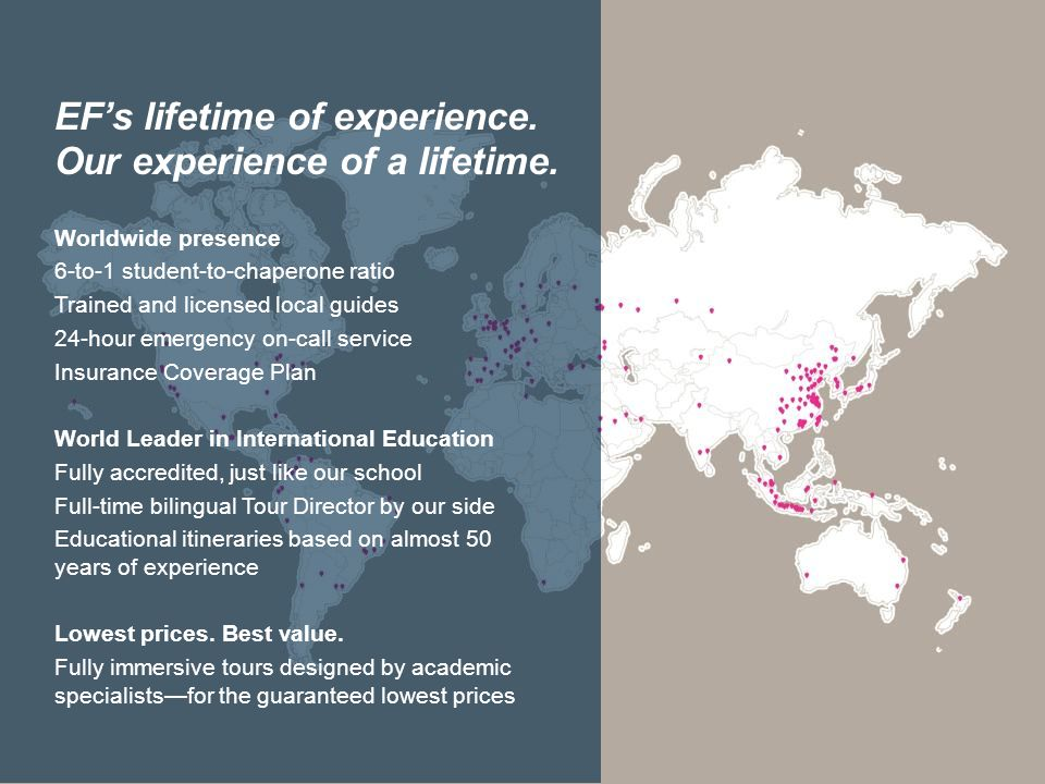 EF's lifetime of experience. Our experience of a lifetime. Worldwide presence 6-to-1 student-to-chaperone ratio Trained and licensed local guides 24-h