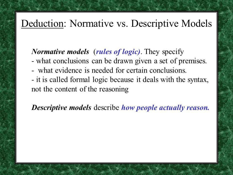 Deduction: Normative vs. Descriptive Models Normative models (rules of logic).